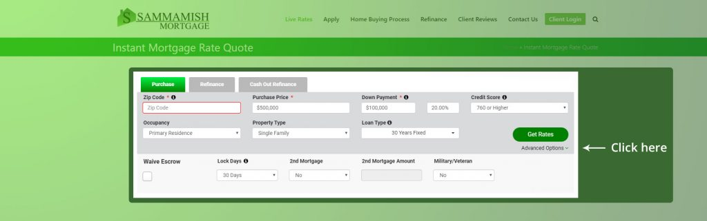 Rate Quote Advance Options
